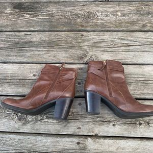 Franco Sarto Shoes - Franco Sarto Stacked Heel Leather Ankle Boots